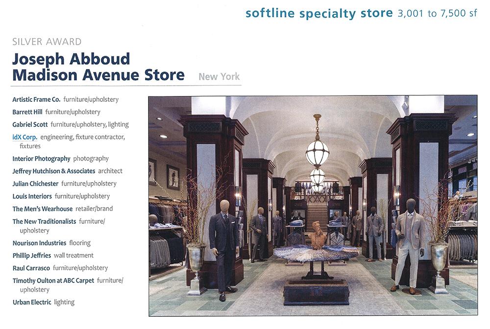 JHA wins A.R.E. Award for Joseph Abboud's Madison Avenue Flagship Store